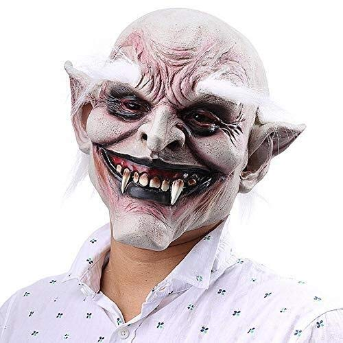 Le maschere di Halloween sono orribili ed eccitant Halloween Horror Devil Mask Vampiro Haunted House Casa malvagia Killer Mask Bianco-Browed Demone Vecchio Demone Maschera in lattice Adulti Costume Ma