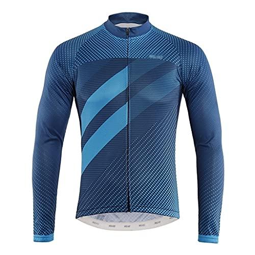 Jersey de Ciclismo para Hombre Chaqueta de Camiseta de Ciclismo de Manga Larga para Hombres Transpirable rápido seco al Aire Libre Desgaste Adecuado para Primavera u otoño Maillot de Ciclismo para ho