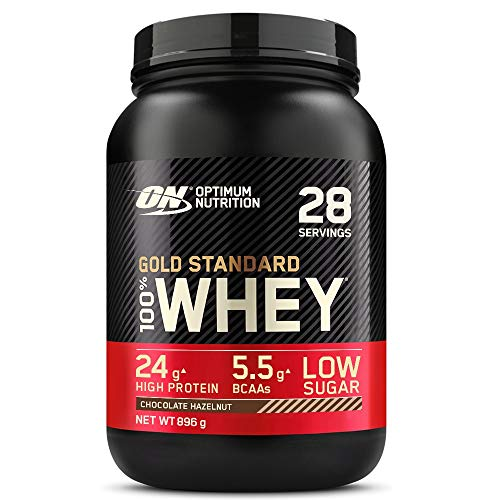 Optimum Nutrition ON Gold Standard Whey Protein, Muscle Building Powder With Naturally Occurring Glutamine and Amino Acids, Chocolate Hazelnut, 28 Servings, 896 g, Packaging May Vary