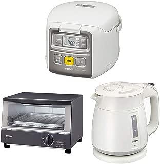 タイガー魔法瓶 【新生活応援3点セット】 マイコン 炊飯器 3合 炊きたて ミニ JAI-R551-W +電気ケトル 800ml わく子 PCF-G080-W+ オーブン トースター やきたて KAK-B100-HW