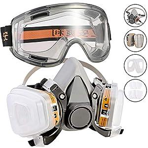 51R3Q7kpC1L. SS300  - Fabur Kit de Máscara de Gas mas Gafas de Seguridad, Respirador Semimáscara Antigas Mascarilla Gas Filtros Respirador Protección Respiratoria para Pintura, Polvo, Productos Químicos, Formaldehído