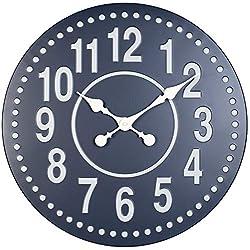 Infinity Instruments Gunmetal 20 inch Farmhouse Wall Clock Living Room Decor Metal Frame Decorative (Blue)