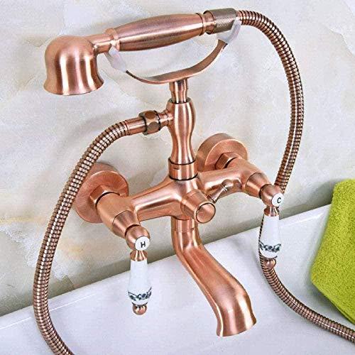 Grifo de baño de bañera de montaje en pared de cobre rojo antiguo grifo mezclador de estilo telefónico con ducha de mano de doble manija