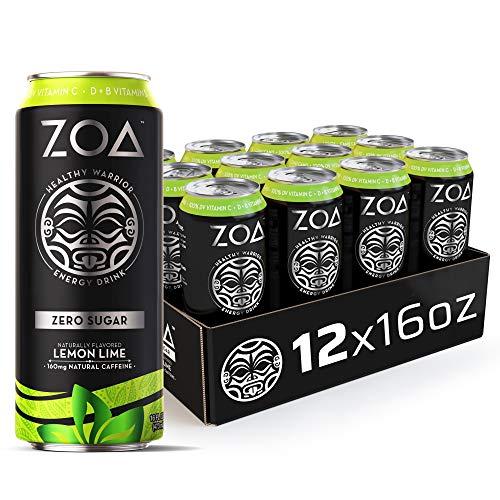 ZOA Zero Sugar Energy Drink, Lemon Lime, 16 fl. oz. (12 Pack) - Supports Immunity, Focus, Hydration, Body & Energy - 100% DV Vitamins C, B6 & B12