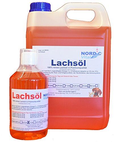 NordicVital Lachsöl 5L Kanister + 500ml Flasche für Hunde, Katzen und Pferde 100% kaltgepresste Premiumqualität - reich an Omega 3 6 und 9 Fettsäuren, Barföl Ergänzung, Naturprodukt