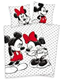 Disney's Mickey & Minnie Mouse biancheria da letto 80x80cm + 135x200cm 100% cotone con cerniera