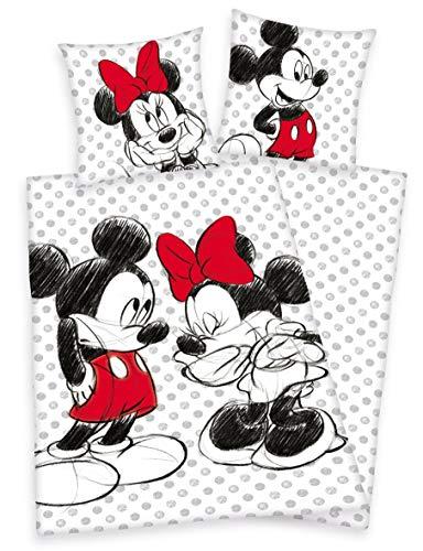 Klaus Herding GmbH Disneys Minnie Mouse & Mickey Maus Bettwäsche 80x80 135x200cm, 100% Baumwolle mit Reißverschluss