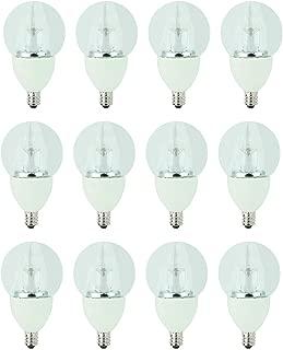 TCP 40 Watt LED Clear G16.5, 12 Pack, Soft White (2700K), Candelabra Base (E12), Dimmable Globe Light Bulbs