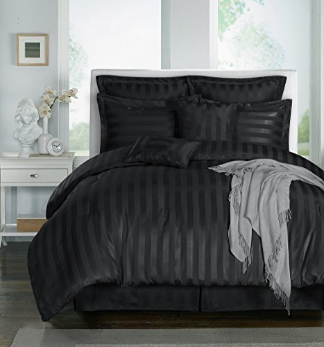 Chezmoi Collection 8-piece Striped Comforter Bedding Set (Queen, Black)
