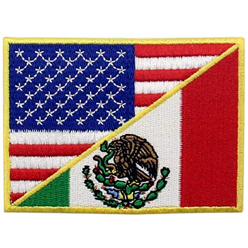 USA American United State Flag and Mexico Flag Patch Embroidered National Applique Iron On Sew On Emblem, Multi-Color