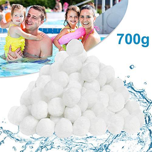 Pool Filterbälle, 700g Filter Balls/Filterbälle für Sandfilter, für 25kg Filtersand, Poolzubehör Poolreiniger für Sandfilteranlagen, Einsparung von Flockungsmittel, für Pool Glas/Sandfilteranlage