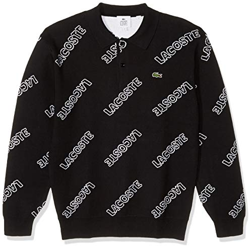 Lacoste Men's Long Sleeve LVE Printed Polo Inspired Sweater, Black/White, M