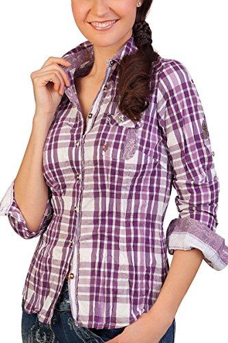Spieth & Wensky Trachten Bluse Crashoptik, Langer Arm - Wicke - blau, lila, Größe 50