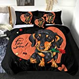 Sleepwish Cute Dog Print Comforter Set with 2 Pillow Covers 1 Cushion Cover Dachshund with Red Flower Painting Bedding Sets 4 Piece Twin Size Reversible Comforter Quilt Bedspread