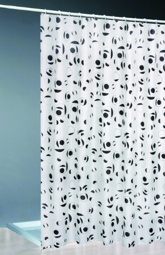 Daloual Textil Duschvorhang + Ringe 180x200 / Weiss schwarz Bad Dusche Vorhang