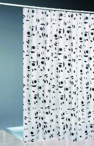 Textil Duschvorhang + Ringe 180x200 / weiss/schwarz Bad Dusche Vorhang
