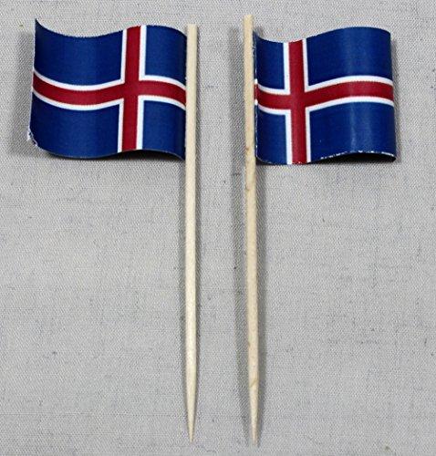 Buddel-Bini Party-Picker Flagge Island Papierfähnchen in Spitzenqualität 50 Stück Beutel