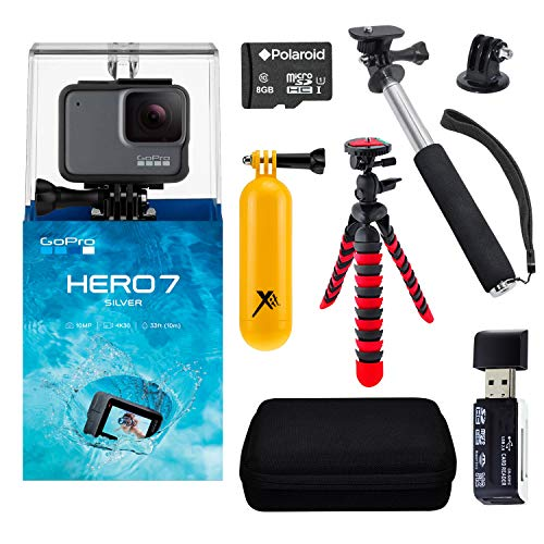 "GoPro Hero7 Silver Bundle with Handheld Monopod, 12"" Flexi-Tripod, Float Handle, GoPro Case, Memory Card Reader, Tripod Adapter, and Sandisk 16GB MicroSDHC Memory Card"