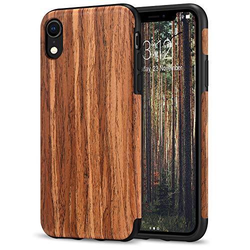 TENDLIN Kompatibel mit iPhone XR Hülle Holz & TPU Silikon Hybrid Weiche Schutzhülle Kompatibel mit iPhone XR (Rotes Sandelholz)
