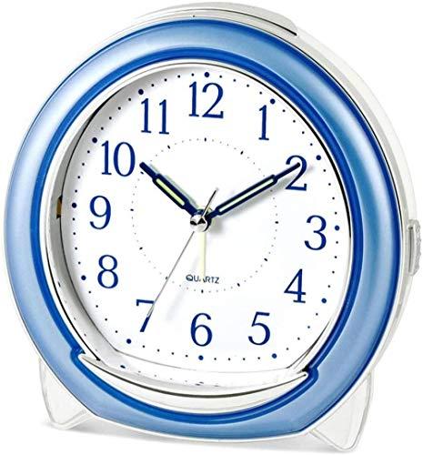 Whisper Quiet Reloj Despertador de Escritorio Cuarzo Mecánico Timbre Melodía Luz Nocturna Snooze Barrido silencioso Segunda Noche Luz Puntero Batería Fuente de alimentación 5x5.1in (Color: Rojo)-Azul