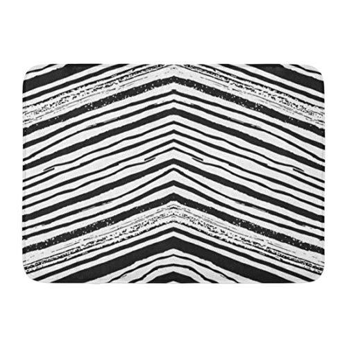 Alfombrillas Alfombras de baño Alfombrilla para Exteriores/Interiores Acuarela Tinta Negra Patrón de Trazos de Pincel Dibujado a Mano Zig Zag Blanco Decoración de baño Alfombra Alfombra de baño