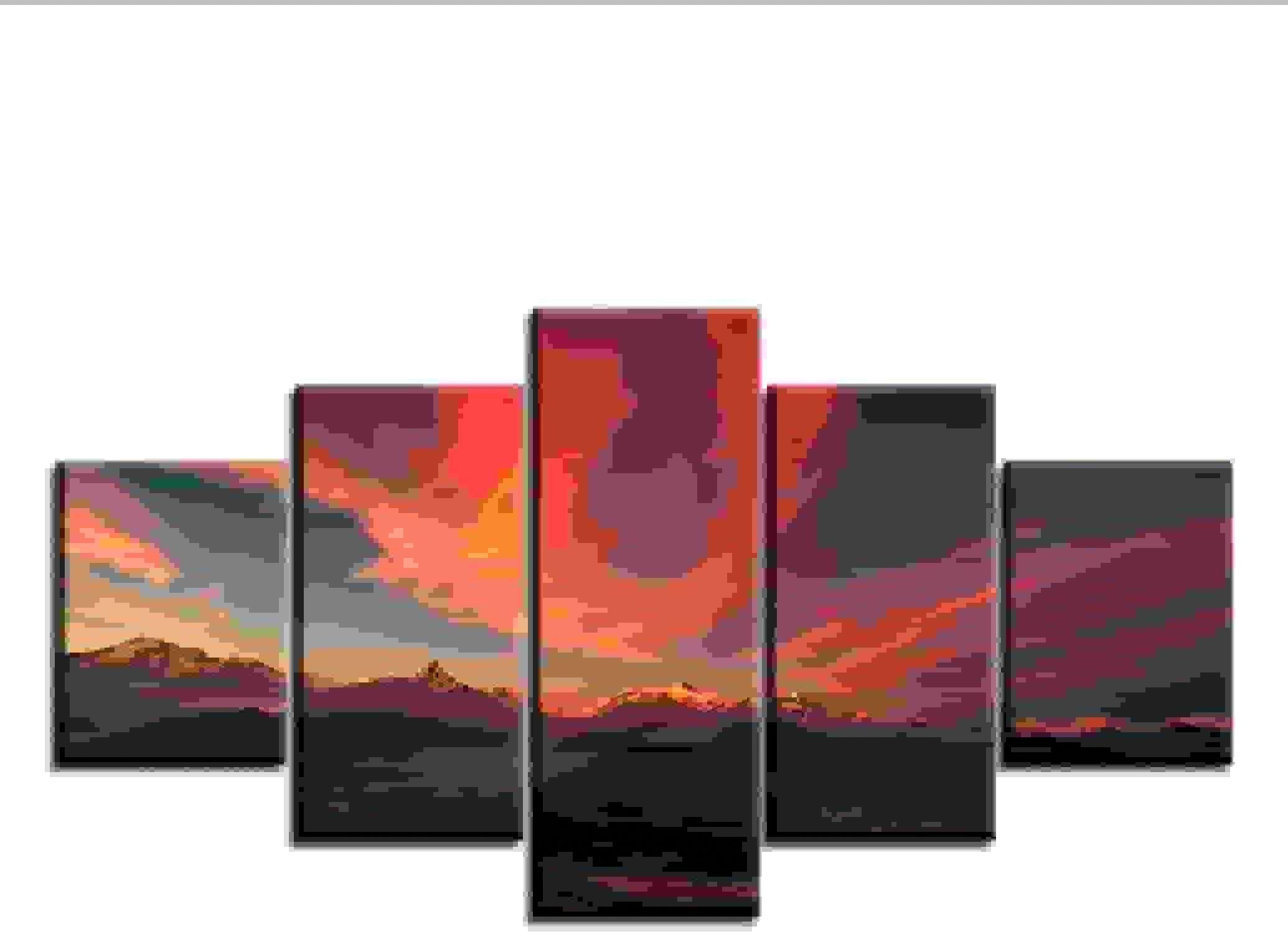 comprar ahora Guyuell Para la Sala de Estar Moderna HD Impreso Impreso Impreso Lienzo Pintura 5 Unidades Pcs Montaas Sunset Sky Wall Art Home Decor Poster Pictures-20CMx35 45 55CM,with Frame  con 60% de descuento