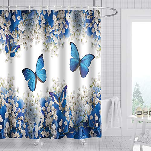 Pomelo Town Blue Butterfly Shower Curtain, Floral Flowers Fabric Bathroom Curtains Set with Hooks Bathroom Decor Machine Washable 72x72 Inches
