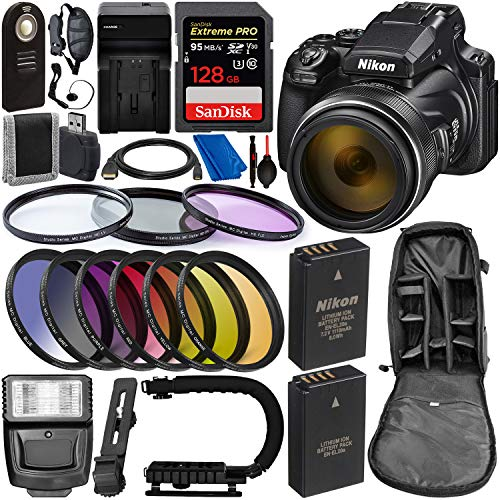 Nikon COOLPIX P1000 Digital Camera with Deluxe Accessory Bundle - Includes: SanDisk Extreme PRO 128GB Memory Card, Extra Battery & Much More