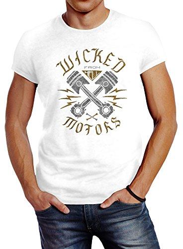 Neverless Herren T-Shirt Motorrad Biker Racing Wicked Motors Slim Fit weiß L