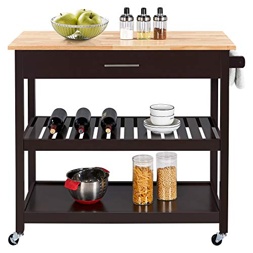 Yaheetech Rolling Kitchen Island Cart, 3 Tier Microwave Oven Cart Serving Cart on Wheels with Storage Drawer and Shelves 40'' W Wood Top, Espresso