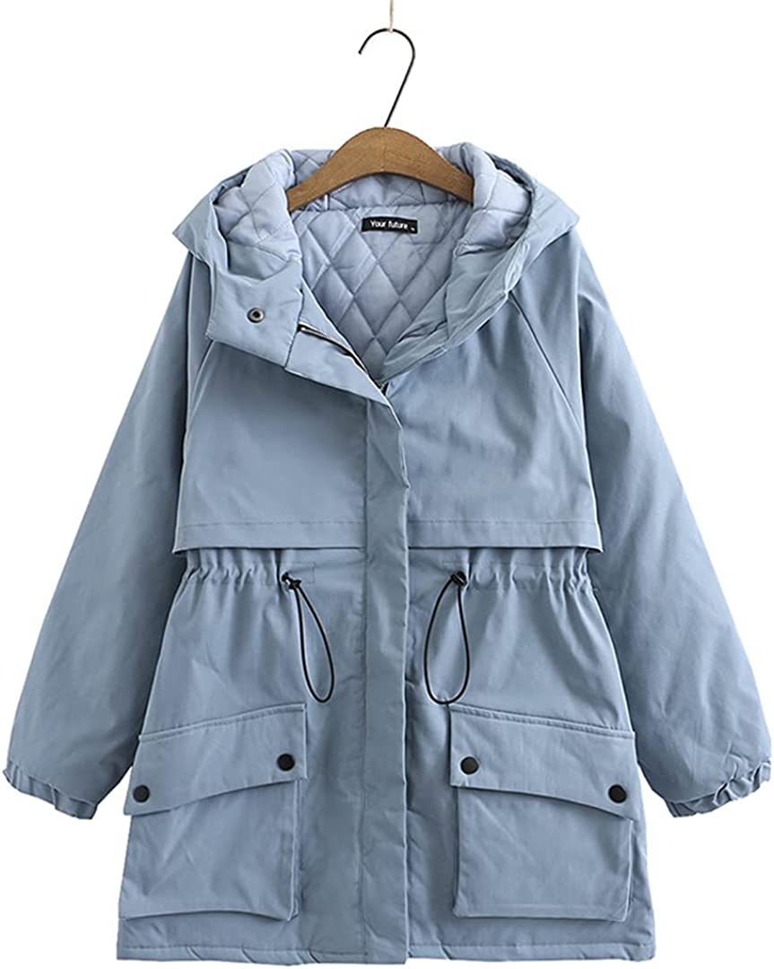 KCLDFJ Winter Trench Women Quilted Coat Hooded Padded Jacket Pocket Drawstring Warm Outerwear Loose Clothes