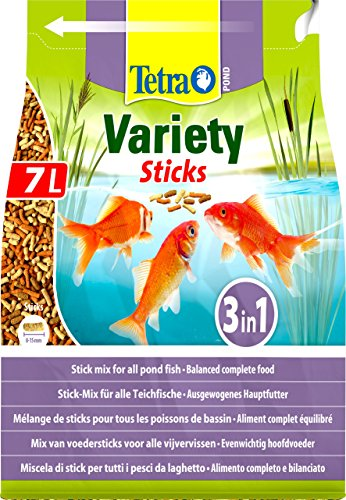 Tetra Bâtonnets variés pour Poissons Pond, mélange pour Tous Poissons de Bassin, 7 litres