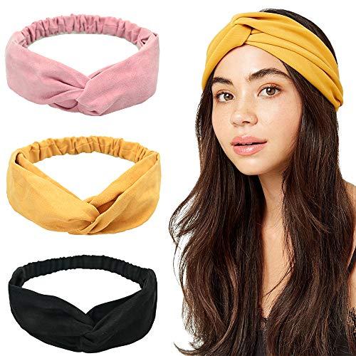 3 Pack Haarreife & Stirnbänder Frauen Stirnbänder Vintage Elastic Cross Head Einfarbiges Haarband Breitkrempige Stirnbänder Make-up Stirnband Nettes Haar Zubehör