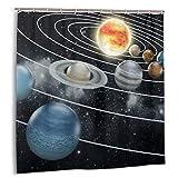 fudin Duschvorhang, Sonnensystem Alle acht Planeten & die Sonne Pluto Jupiter Mars Venus Science-Fiction-Badvorhang mit Haken