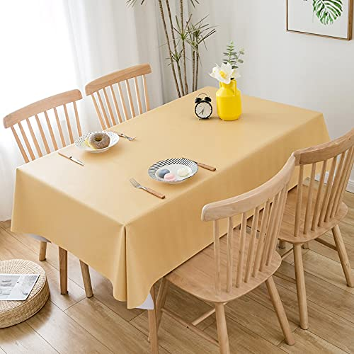 EMPERSTAR manteles Antimanchas Restaurante de PVC Impermeable, a Prueba de Aceite y Anti-Quemaduras de Color Puro Golden 140x180cm