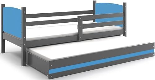 Interbeds Funktionsbett Tami 190x90cm Farbe  grau + 2. Farbe zur Wahl; mit Lattenroste und Matratzen (blau)