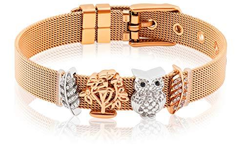 Entzückt | Armbandset in Rosengold | Individuelle Anhänger | Charms austauschbar | aus Edelstahl veredelt | Größenverstellbar | Bracelet Armband |(Eule - Rosengold)