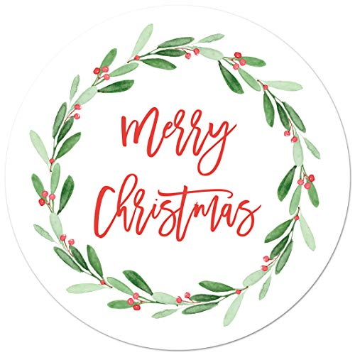 2' Round Holly Jolly Merry Christmas Stickers (40 Labels)