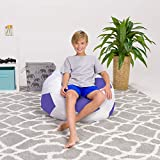 Posh Beanbags Bean Bag Chair, Large-38in, Sports Soccer Ball Purple and White