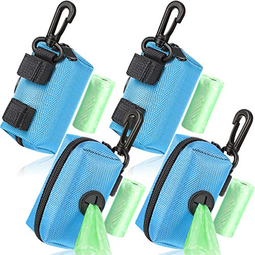 Outus 4 Hunde Kotbeutel Halter Leine Befestigung Hunde Kotbeutel Spender Reißverschluss Tasche mit Schlüsselclip, inklusive 4 Rollen Pickup Taschen, Passend für Jede Hundeleine (Blau)