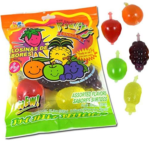 DinDon Fruity Snack TikTok Ju-C Jelly Fruit Candy Bag 11.3 oz 5 Flavors Strawberry, Sour Apple, Pineapple, Grape, and Orange Tasty Fruity Jelly Snack by Din Don