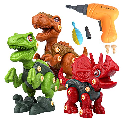 Take Apart Dinosaur Toys Dinosaur Building Toy Set with Electric Drill for Kids, Screwdriver 90 Pieces Animal Dinosaur Figures Assembly Toy for Age 3-10 Year Old Boys Girls, Toddler STEM Learning