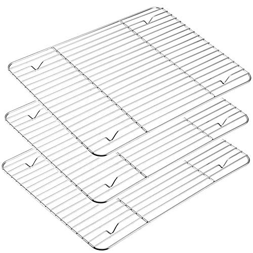 Mokpi Heavy Duty Stainless Steel Baking Rack Oven Safe Cooling Rack, Size 15.2''x11.2'', Commercial Quality Thick Wire Rack (3-Pack)