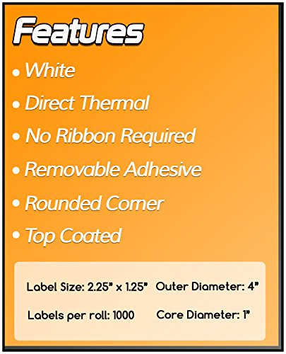 OfficeSmart Labels ZR1214114-2.25 x 1.25 Inch Removable Direct Thermal Labels/Compatible with Zebra Printers (4 Rolls, White, 1000 Labels Per Roll, 1 inch Core) Photo #5