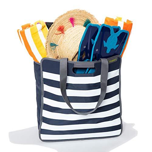 Faltbare Einkaufstasche L Marine Blau/weiße Streifen 46x17x50cm Sport Ausflug Urlaub Strand Sylt Segeln Hafen