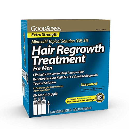 GoodSense Minoxidil Topical Solution USP, 5% Hair Regrowth Treatment for Men, 12 Fluid Ounce, for Male Pattern Baldness