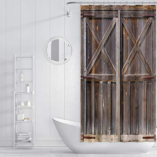 ZXMBF Rustic Shower Curtain Old Wooden Barn Door Farmhouse...