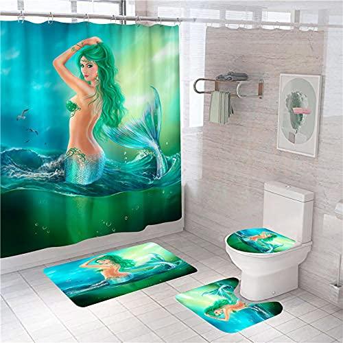 QGWMCD Duschvorhang Grünblaue Meerjungfrau,Bad 4-teiliges Set, rutschfest, Digitaldruck, mit 12 Haken für Badezimmer einschließlich Badematte, Sockelmatte & Toilettenmatte