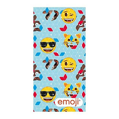 Asditex Toalla de Playa Emoji 70x140 cm- 100% Microfibra Rizo