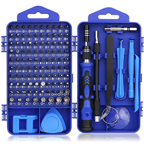 Hautton Mini Precision Screwdriver Set, 118 in 1 Magnetic Screwdriver Bit Kit, Multi-Function Stainless Steel Professional Repair Tool Kit for Phone, Laptop, PC, Glasses, Electronics, and More -Blue